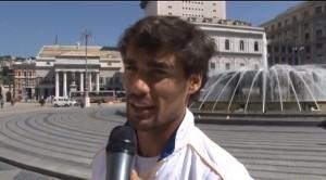 Fabio Fognini, intervistato in Piazza De Ferrari