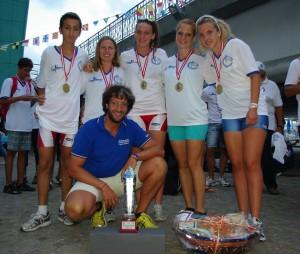 Con coach Roberto Moscatelli e le compagne vincitrici della Coppa Europa