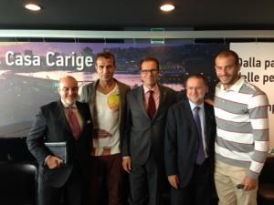 I dirigenti Banca Carige assieme a Portanova e De Silvestri
