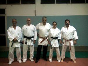 Karate Club Savona: lo staff tecnico: da sinistra Enrico Bernat, Massimo Fassio, Fiorenzo Zucconi, Raffaella Carlini e Franco Quaglia.