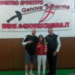 I maestri della GenovaScherma assieme a Margherita Baratta