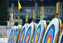 Lo stadio dei Marmi adibito per il tiro con l'arco