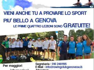 Rowing Club Genovese: riaprono le iscrizioni per la Scuola remiera