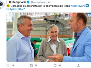 Lutto in casa Samp per la scomparsa di Filippo Mantovani