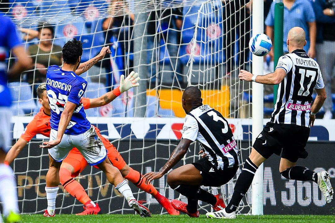 Fuochi artificiali nel 3-3 tra Samp e Udinese, Candreva il più pirotecnico